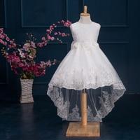 Child White Trailing Flower Girl Dresses For Weddings Princess Birthday Dress For Toddlers 2016 Little Girls