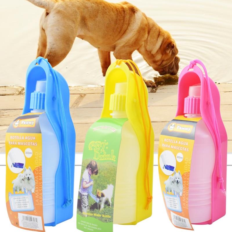 300ml Portable Pet Dog Water Bottle Travel Dog Bowl Cups: 300ml Foldable Pet Dog Water Bottle Cat Feeder Travel Hand