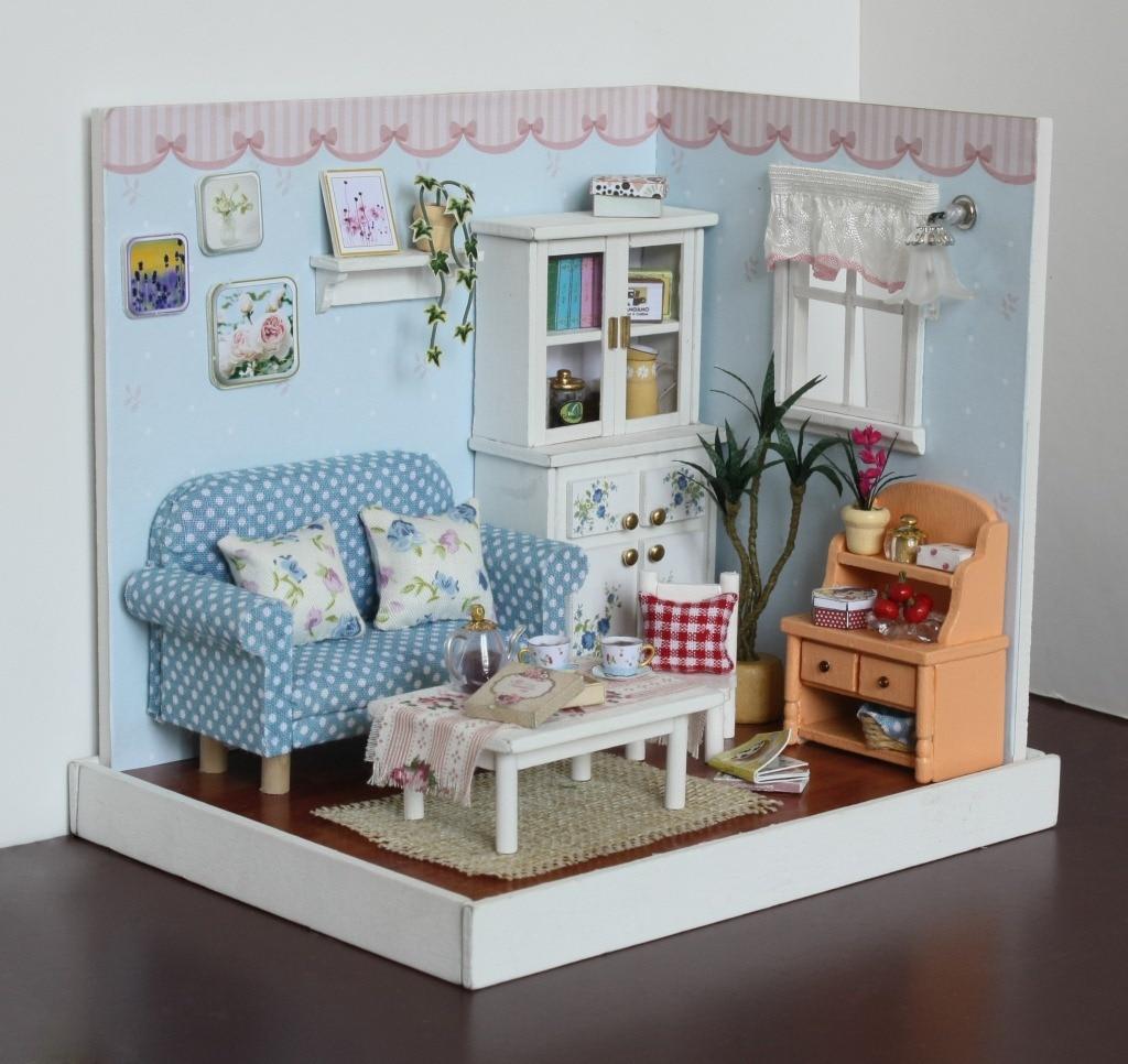 together happy moment diy living room f005dollhouse wooden handmade miniature furniture popular. Black Bedroom Furniture Sets. Home Design Ideas