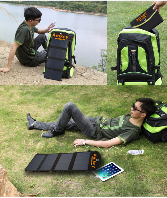 Anqulife/AMKEY 24W 4A Foldable Portable Dual USB SunPower Solar Cell Panel Charger for iPhone 6s/6/Plus For iPad Air