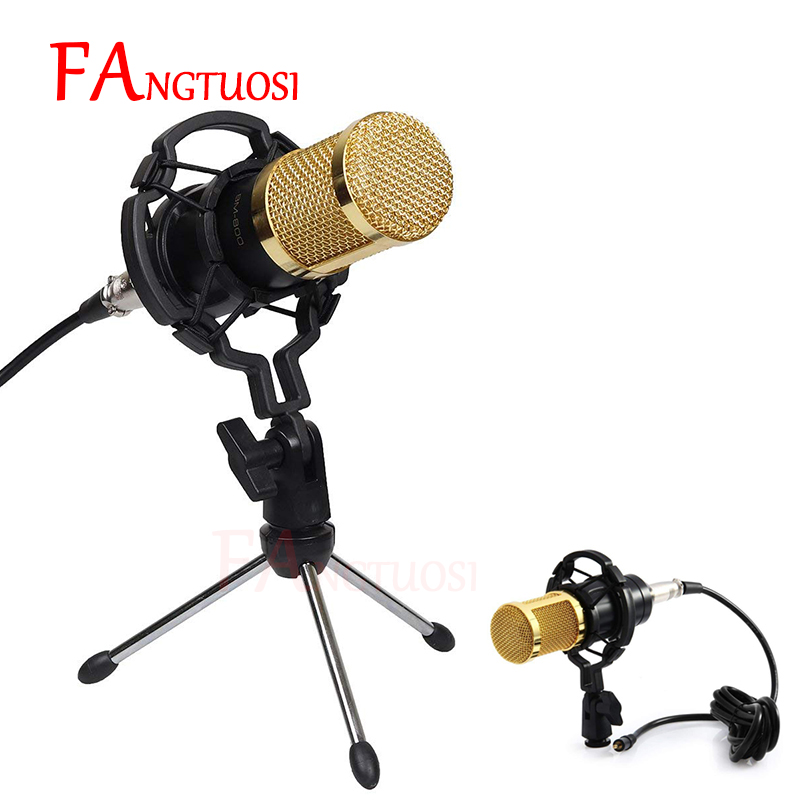 FANGTUOSI BM-800 Professional Condenser Microphone 3.5mm Wired BM800 Microphone With Shock Mount KTV Karaoke Mic For Computer