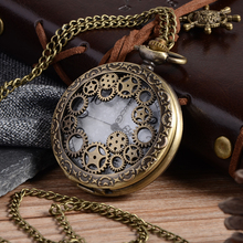 Relogio Retro Bronze Quartz Pocket Watch steampunk Clock Watches with Gear Hollow Necklace watches Mens Womens Christmas Gifts