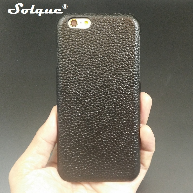 Case For IPhone 6 6S Plus Cell Phone Real Genuine Leather Litchi Lines Shell Cover Ultra