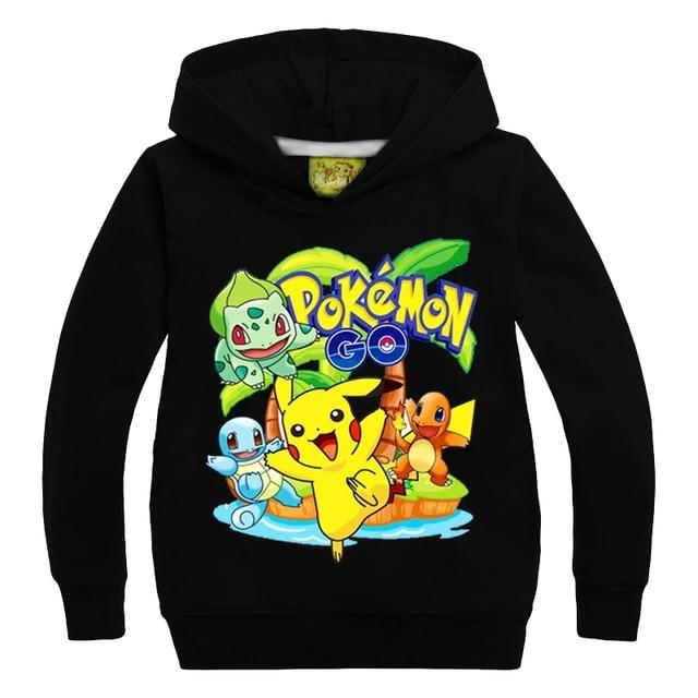 Kids Boys Girls Hoodies Sweatshirts 2016 New Cartoon Pokemon Go Shirts Autumn Winter Clothing Children Tops For 3-9 Yrs GT46