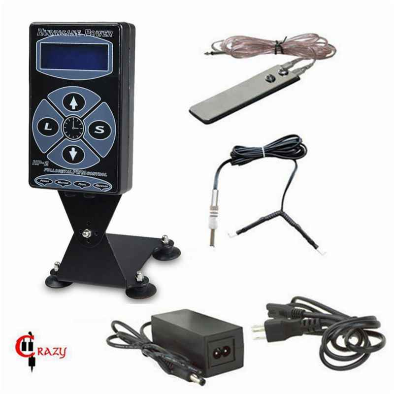 Hurricane HP-2 Tattoo Voeding Kit Lcd-scherm Digitale Dual Tattoo Voeding Met Clip Cord & Voet pedaal Tattoo Kit