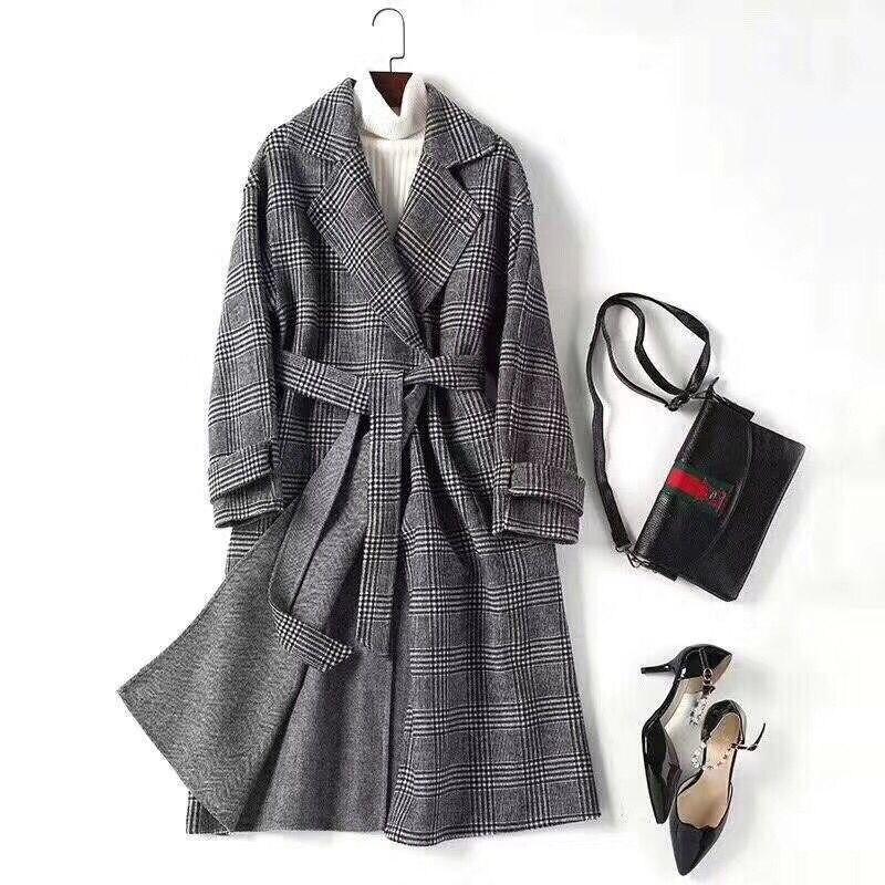 Style Porter Mode Femmes Multi Qualité Turn' 2018 Manteau Laine Ceinture Côtés Sur Angleterre Deux Haute Les down Nouvelle Plaid De 80 Collier Conception C1Utqt5wxp
