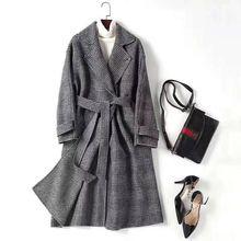 Wool Coat Women 80% Wool Wear On Both Sides Design Plaid Turn`-down Collar Belt High Quality Coat England Style 2018 New Fashion