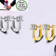 OMHXZJ Wholesale Personality Fashion OL Woman Girl Wedding White Gold U Shape Zircon 18KT Hoop Earrings YE439