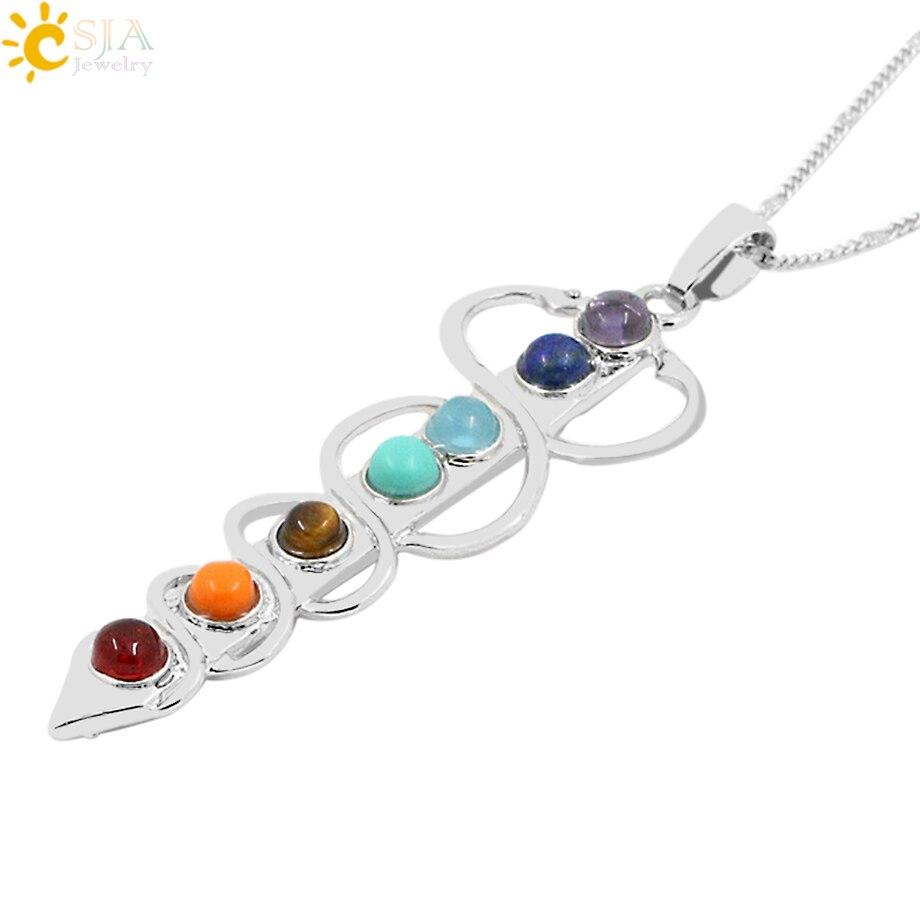 CSJA Stone Beads Pendant Necklace Yoga Symbol Inlaid Reiki Energy Stone Healing Point 7 Chakra Charm Pendant Necklace E039