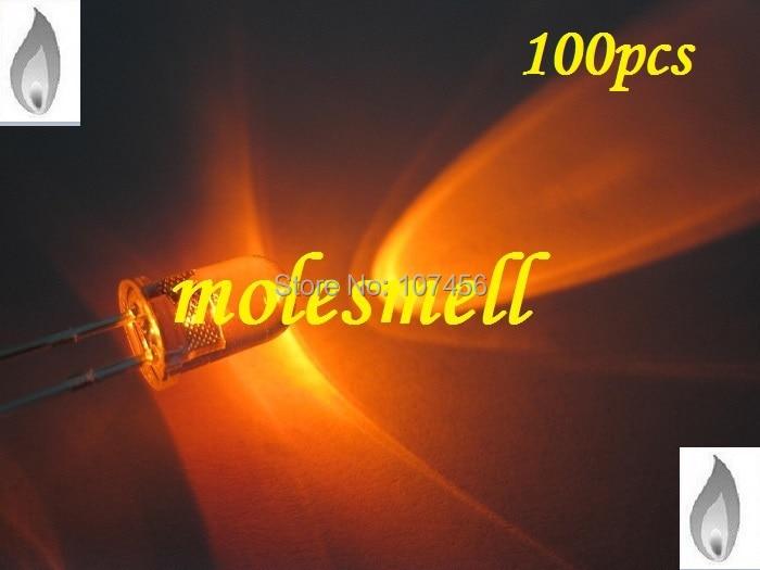Luz da Vela Pces Laranja Cintilação Ultra Brilhante Led Leds Água Clara Vela 100 5mm