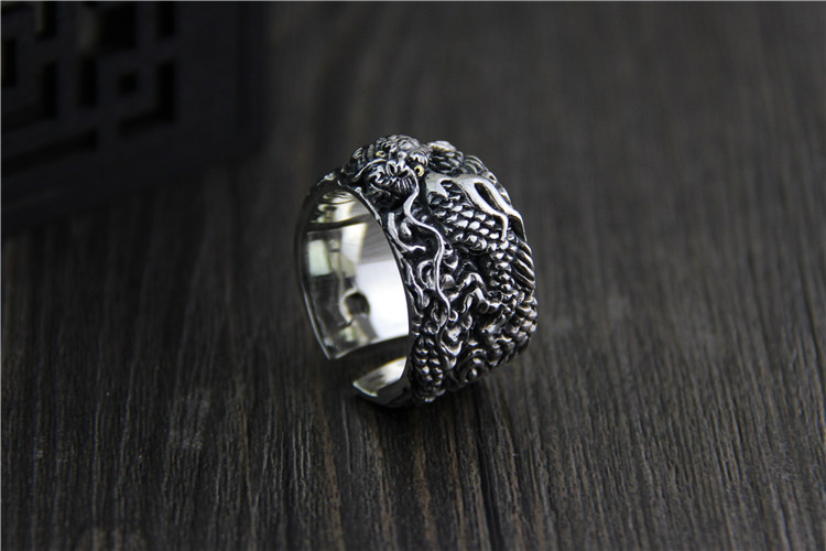 C&R 925 Pure Sterling Silver Rings for men vintage ring Thai silver carved dragon Pattern Fine Jewelry Size 9-12 adjustable