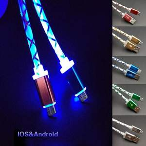 Phone-Cable Usb-Charging Universal-Phone Micro-Usb for Visible Led-Flow-Light