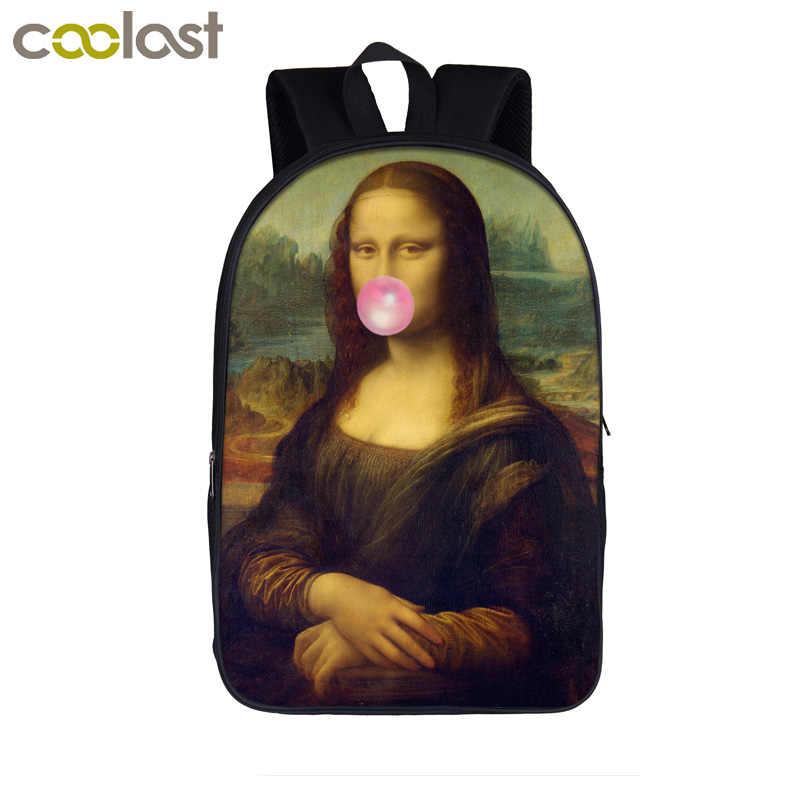 Забавная целлюлоза фантастика Девы Марии/микеланжело Давид пузырчатая резинка рюкзак для женщин небольшой рюкзак для школы сумки для подростка мальчик девочка backpa
