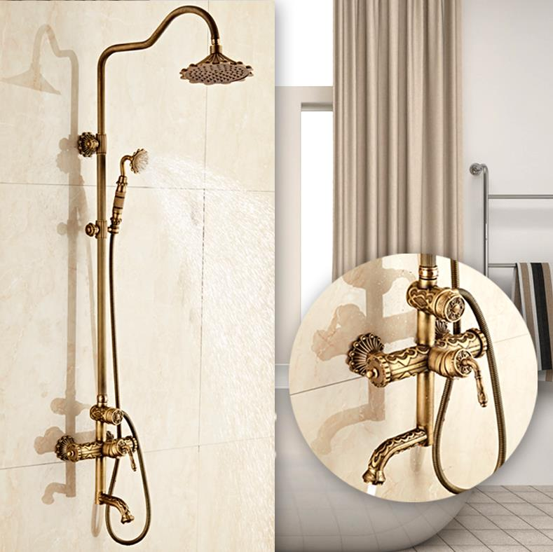 NEW Europe style Luxury antique brass finished art carved bathroom bathtub Shower Faucet Set free shipping 10x10cm euro style black brass flower carved art oil rubbed bronze drain bathroom shower waste drainer free shipping sy 073r