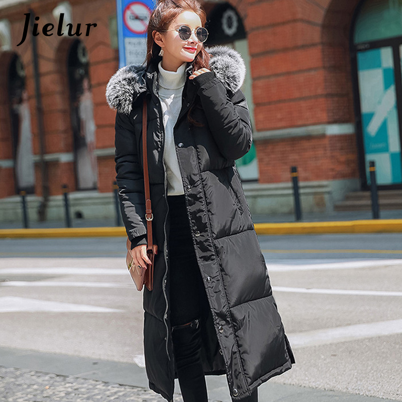 Jielur Winter Hooded Big Fur Collar Long Parka Women Korean Fashion New Warm Women's Down Jacket S-XXL Loose Overcoat Female fashion european winter jacket women big fur collar hooded coat female medium long down parka outwear loose overcoat hn156