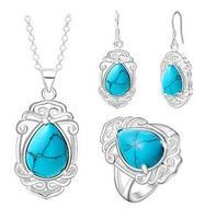 Anello orecchini Pendente Della Collana Elegante argento Spesso insieme dei monili di nuovo modo di pietra Insieme del vestito Per Le Donne di Cristallo