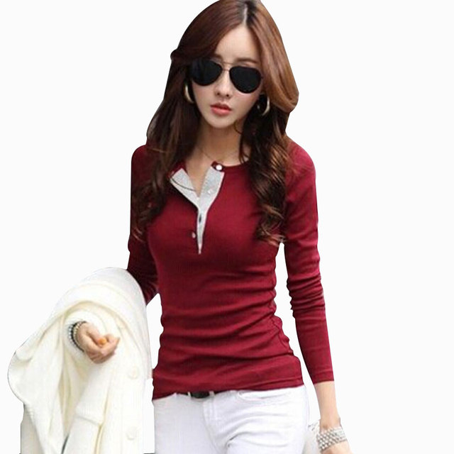 New 2017 Casual Cotton T Shirt With Long Sleeves