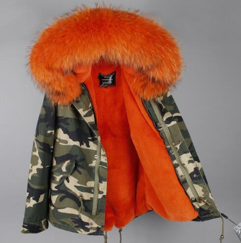 2017 Women Winter Camo Parkas Large Raccoon Fur Collar Hooded Coat Outwear 2 in 1 Detachable Lining Winter Jacket Brand Style 3