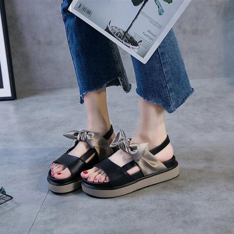 Allgleiches Bogen Freizeit Frauen W54 Beige schwarzes Schuhe Sandalen Studenten Weiblichen Plattform 2018 Alias Muffin Neue Slip Sommer Ein Flachen Mit xOU7wpvq