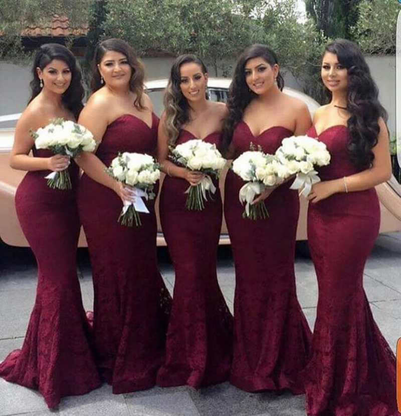 robe de soriee Elegant Burgundy Sweetheart Lace Mermaid Long   Bridesmaid     Dresses   2019 Wedding Guest   Dress   Prom Party Gowns