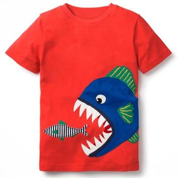T Shirts Boys T Shirt Kids Summer Top Shark Eating Fish Funny T Shirts Cotton Tshirts Girls T Shirt Tee for Children Футболка