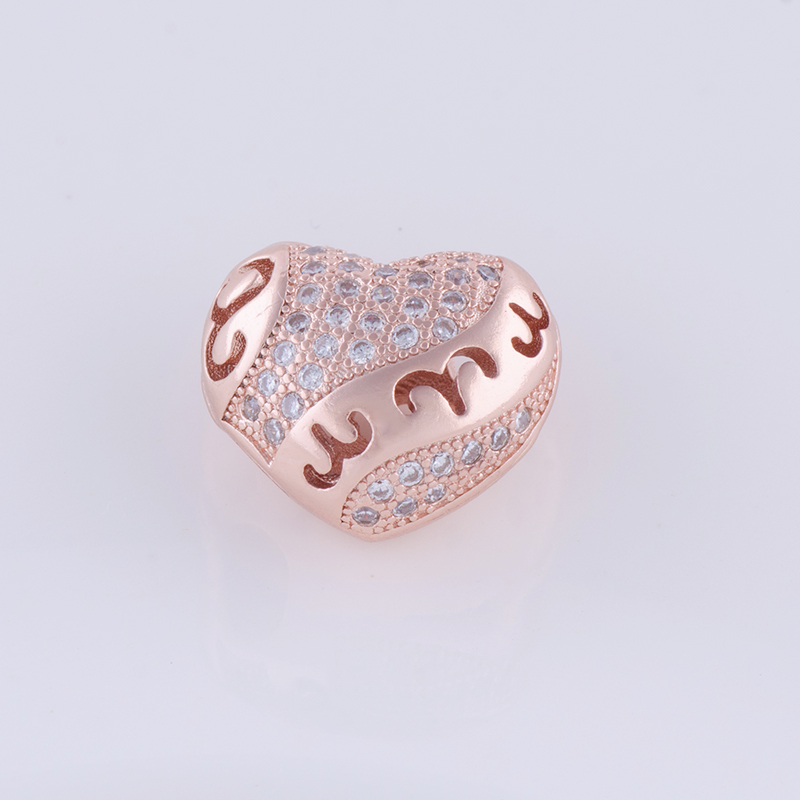 Supplies For Jewelry Wholesale DIY Accessories Findings Micro Pave Zircon Hollow Love Heart Beads Charm For Jewellery Making