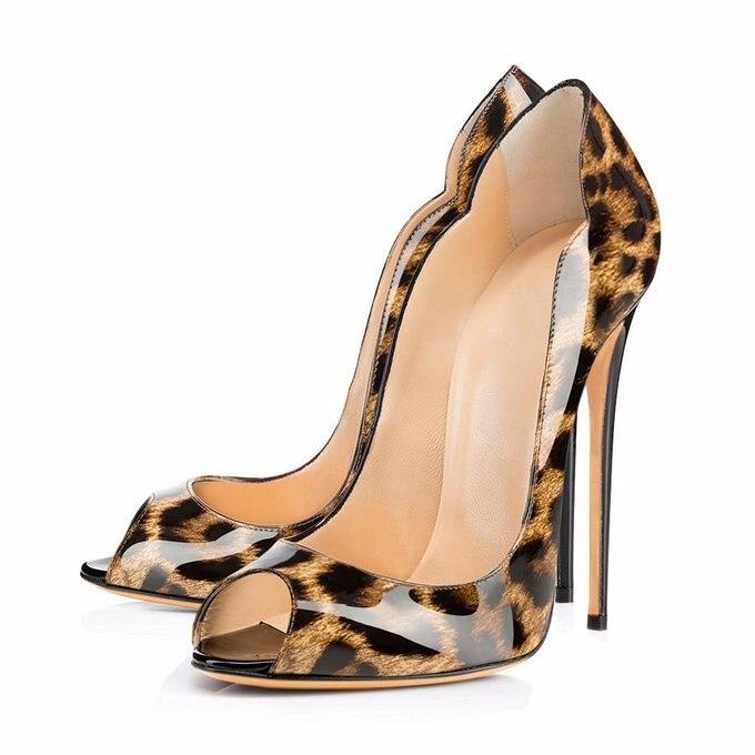 2018 été bleu royal sandales grande taille 13 14 personnaliser n'importe quelle couleur robe chaussures pour femme 12 cm peep toe cuir léopard sans lacet-in Escarpins femme from Chaussures    2