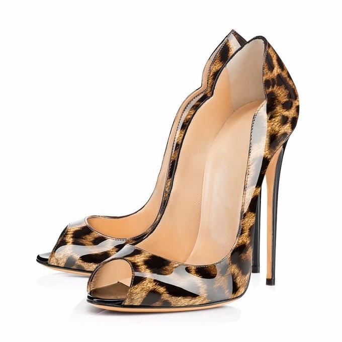 Ayakk.'ten Kadın Pompaları'de 2018 yaz kraliyet mavi sandalet artı boyutu 13 14 özelleştirmek herhangi bir renk elbise ayakkabı kadın 12 cm peep toe deri Leopar slip 'da  Grup 2
