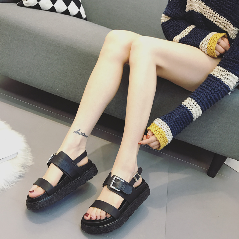 Summer Platform Shoes Fashion Buckle Strap Women Sandals Casual Platform Sandals Black Pu Outdoor Womens Sandals Punk Shoes in Middle Heels from Shoes