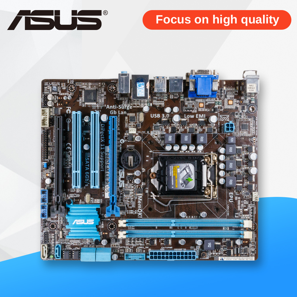 Asus P8B75-M LE PLUS Desktop Motherboard B75 Socket LGA 1155 i3 i5 i7 DDR3 16G SATA3 USB3.0 uATX asus p8z77 m desktop motherboard z77 socket lga 1155 i3 i5 i7 ddr3 32g uatx uefi bios original used mainboard on sale