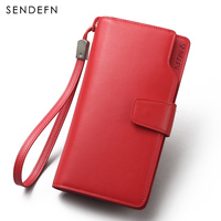 Sendefn High Quality Genuine Leather Women Wallet Solid Hasp Long Lady Casual Clutch Card Holder Phone