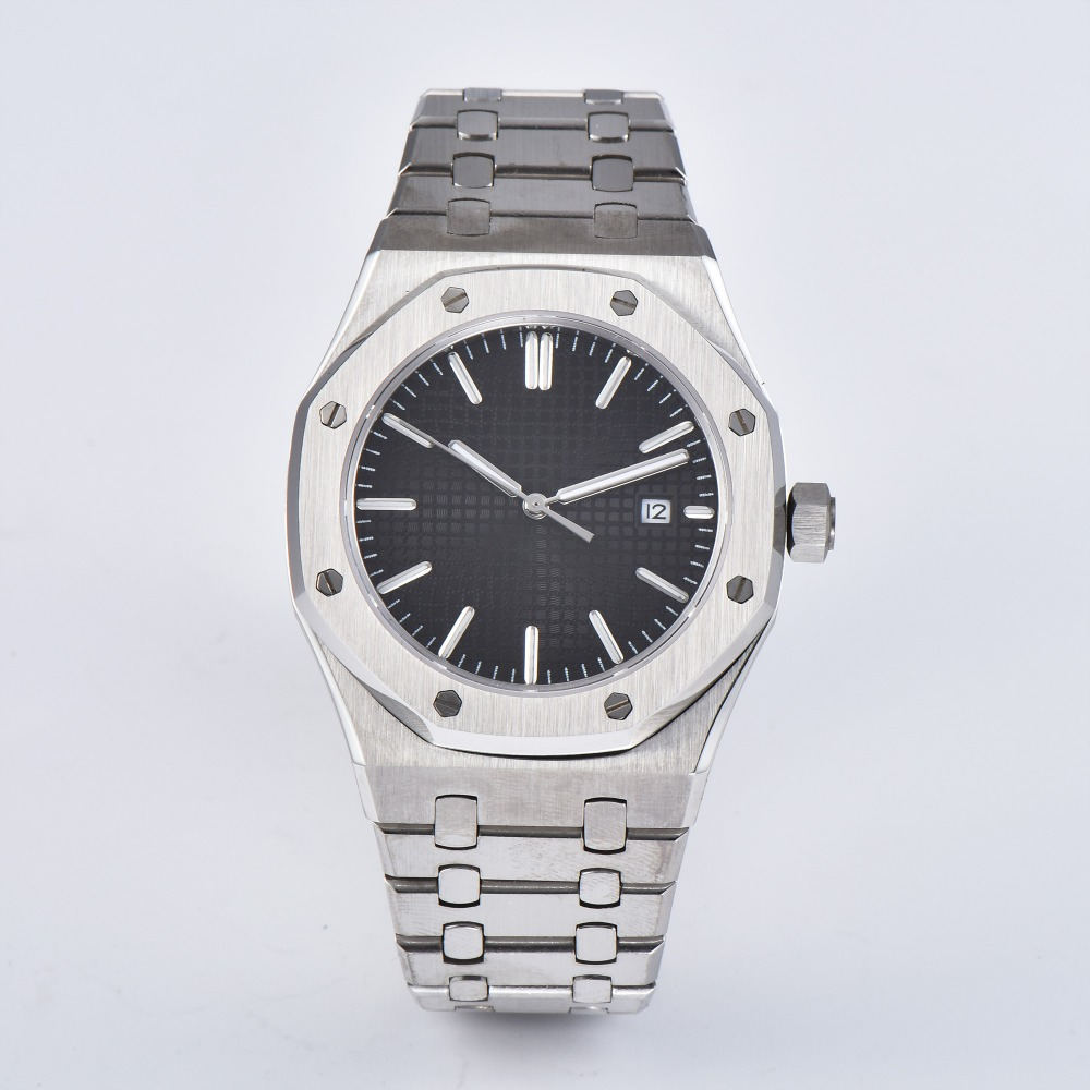 wristwatch automatic mens watch sapphire crystal fashion 41mm stainless steel bracelet  movement silver case