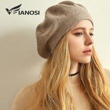VIANOSI, Зимний берет, шапка, для женщин, шерсть, вязаные береты, кепки со стразами, женская мода, одноцветная, толстая, теплая, Gorros