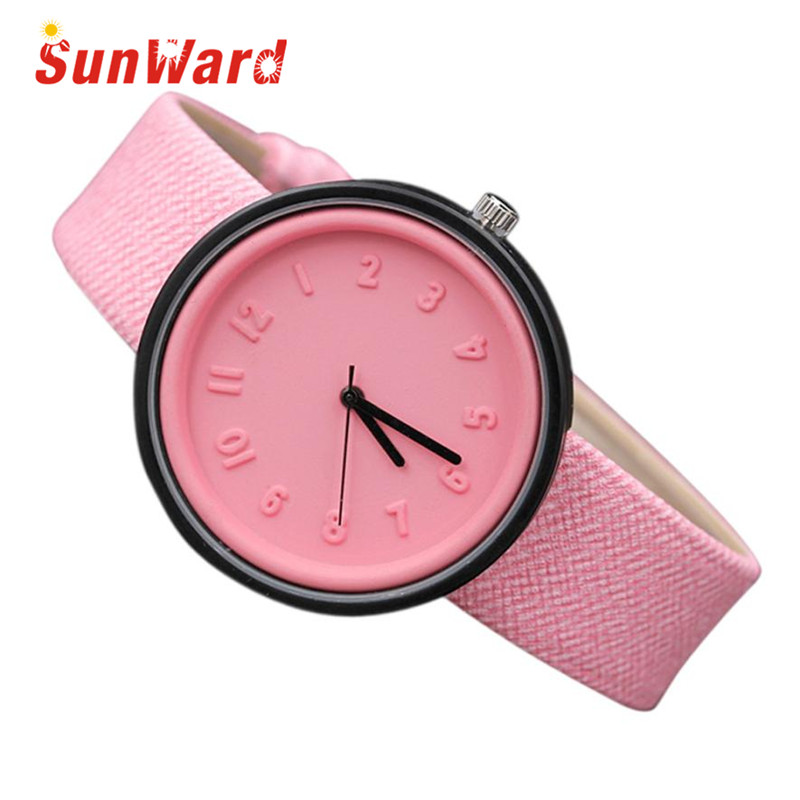 Saat Clock Relogio Feminino Fashion Women Watches Horloge Unisex Simple Fashion Number Quartz Canvas Belt Sunward 17May16 sunward relogio feminino women dress watches follow dreams words pattern pu leather mint green stylish wholesale jan711