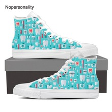 Nopersonality Classic Mens Vulcanize Shoes Personalized Dental Pattern Sneakers Casual Male High Top Canvas Plus