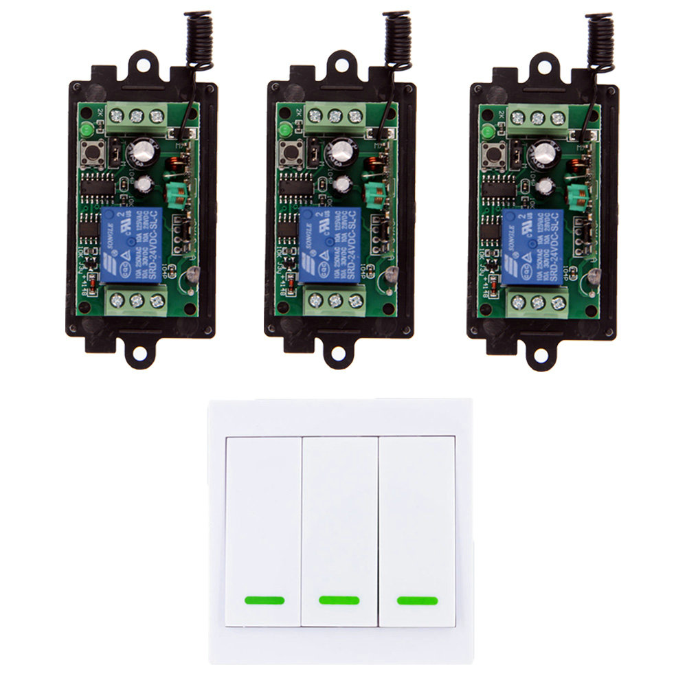 цена на DC 9V 12V 24V 1 CH 1CH RF Wireless Remote Control Switch System Receiver+3CH 86 Wall Transmitter,315/433 MHz