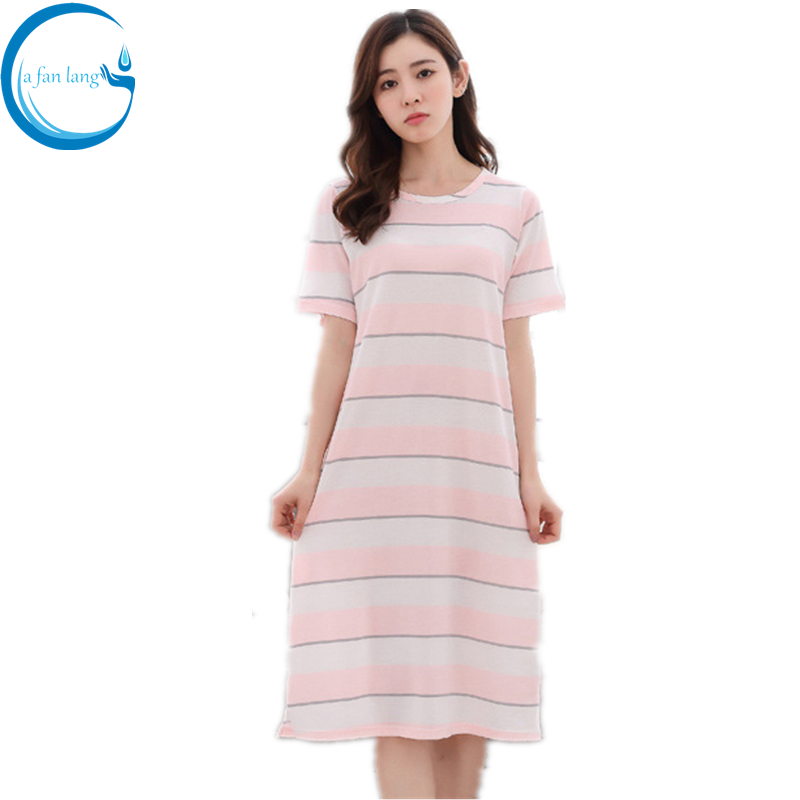 Ladies Sexy Cotton Night Dress Short Sleeve Nighties O-neck Nightgown Plus Size Nightdress Strip Sleepwear Nightwear For Women