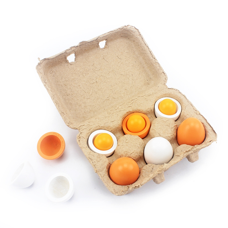 Kids Wood Kitchen Toys Simulation Egg Wooden Lovely Egg Box Toy Food Pretend Play House Kitchen Food Toys For Children Baby Girl
