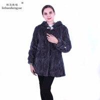 Linhaoshengyue Real fur mink fur women coat fashion warm freeshipping