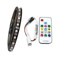 5M No Waterproof 60led/m WS2812 2812 IC 5050 RGB Dream Color LED Strip Light White PCB/Black PCB DC 5V + Controller