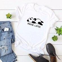 GUMPRUN 2019 Fashion New Lovely Panda Print Women T Shirt 100% Cotton O Neck Short Sleeve Summer T-Shirt Tops Casual Shirts