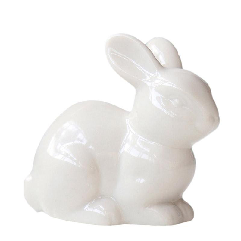 New Cute Mini White Ceramic Rabbit Home Decoration Ornaments Mini Landscape Craft Jewelry White Porcelain