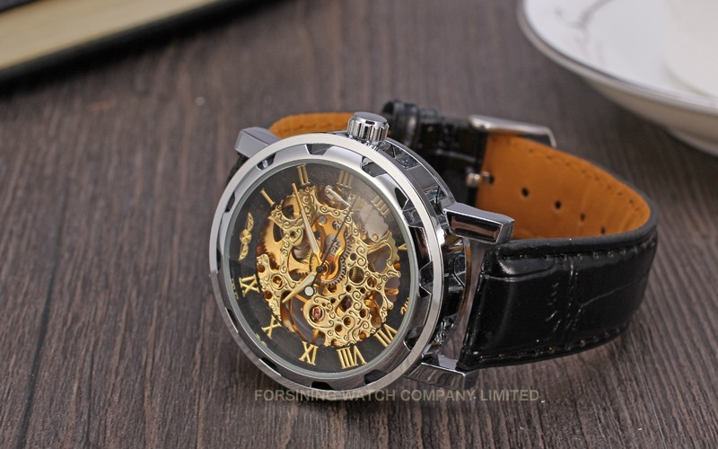 Winner Men Automatic Watch Silver Case Black Dial Gold Numerals