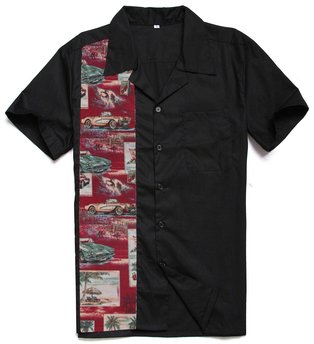 Herrenbekleidung & Zubehör Sishion Rockabilly Seefisch Männer Bowling Shirt Kurzarm Vintage Männer Kleidung St110 Schwarz Baumwolle Taste Up Camisa Hombre Legere Hemden
