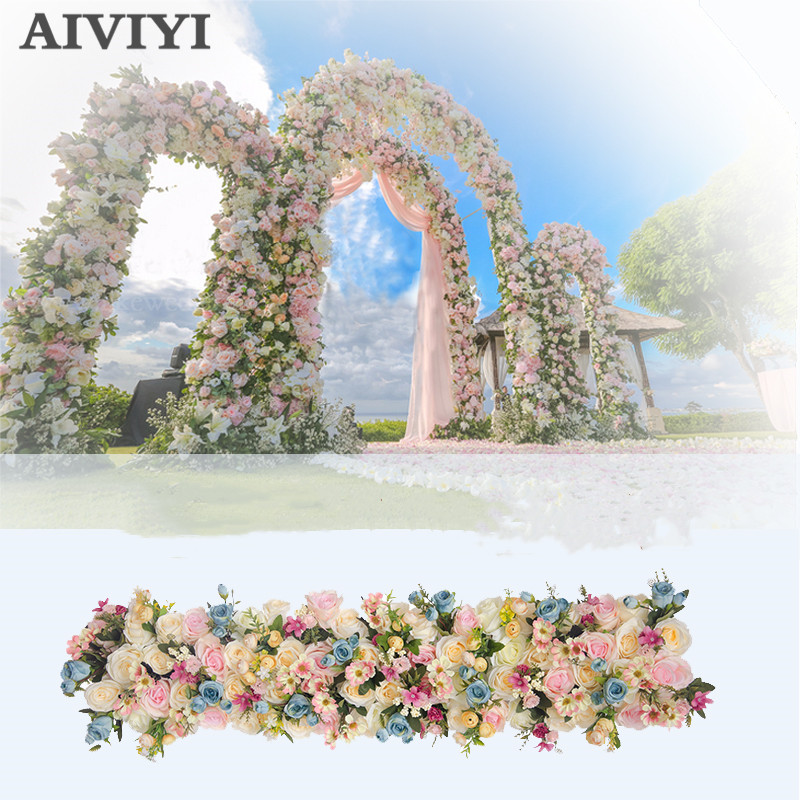Wedding props artificial flower row T stage stage road arch door window storefront ceremony pavilion silk flower decoration
