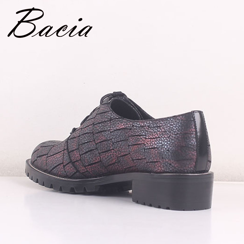 Sb046 Plat 40 Cuir Motif Casual 36 Véritable Bout Appartements Mode Taille Lace Pierre As Picture En Vache De Chaussures Bacia Up Showing Rond Marche Travail qa1fXxq