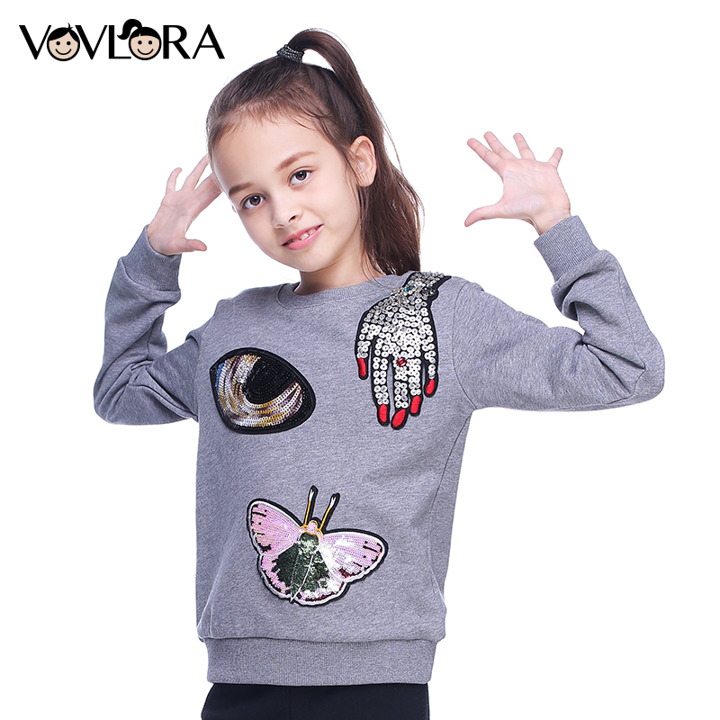 Kids sweatshirts girls autumn clothes O-neck cotton girls knit sweatshirts tops pattern long sleeve fall size 9 10 11 12 13 14Y butterfly patterned teenage girls long sleeve t shirts top 2016 fall new kids girls hoodies sweatshirts black white cotton tee