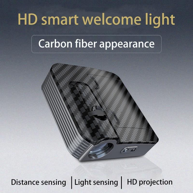 1pcs New car door wireless welcome lamp universal projection lamp wireless spotlight infrared sensor light for car All model (2)