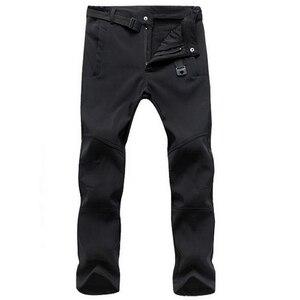 Image 3 - Эластичные водонепроницаемые брюки, мужские повседневные зимние плотные теплые флисовые брюки с акулой кожей, Мужская ветровка, спортивные брюки, мужские тактические брюки