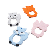 Chenkai 10PCS Silicone Fox Teething Baby Cut Teether Nursing Pacifier BPA Free For Infant DIY Chewing Soothing Chain